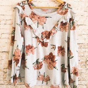Modcloth Ruffled Floral Pullover Sweatshirt